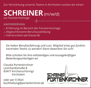 Schreinerei Portenkirchner Anzeige Schreiner