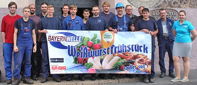 Bayernwelle Weißwurstfrühstück 14 Juli 2017 beim Stahlwerk Annahütte in Hammerau
