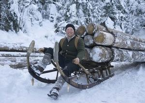 Holzknechte Holzschlitten