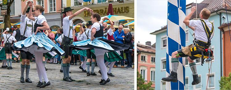 Maibaumaufstellen am Stadtplatz Traunstein 2018